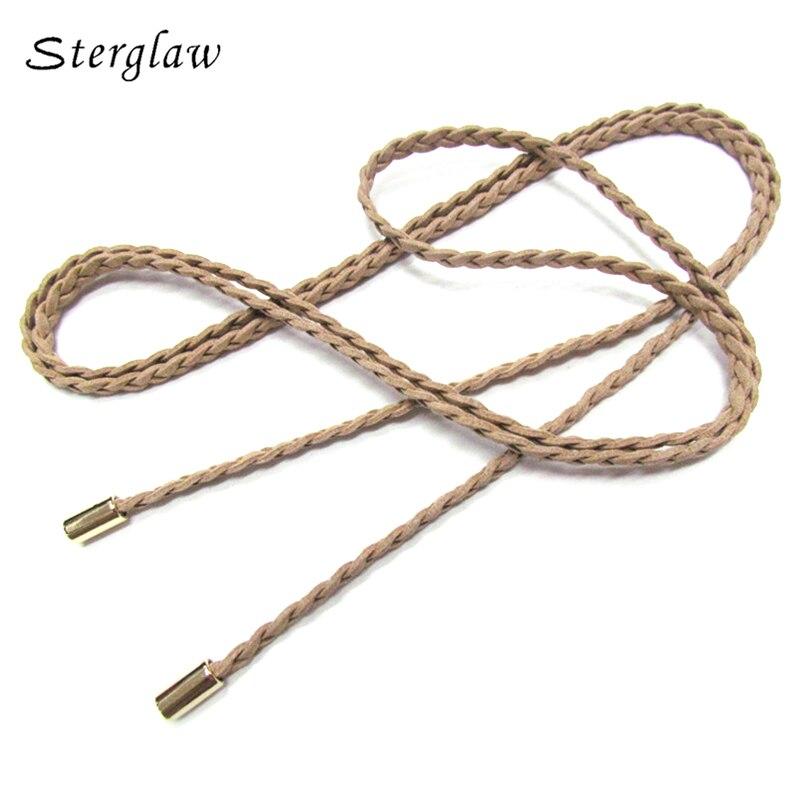 160x0.7cm15color high quality woman dresses thin Weave   belt   female Simple leather braided   belt   Women's ceinture femme 160cm B210