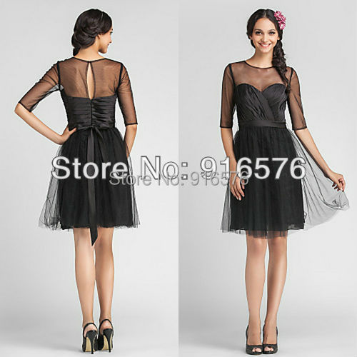 Black jewel neckline knee length dress medium tulle semi for Semi formal dress for wedding guest