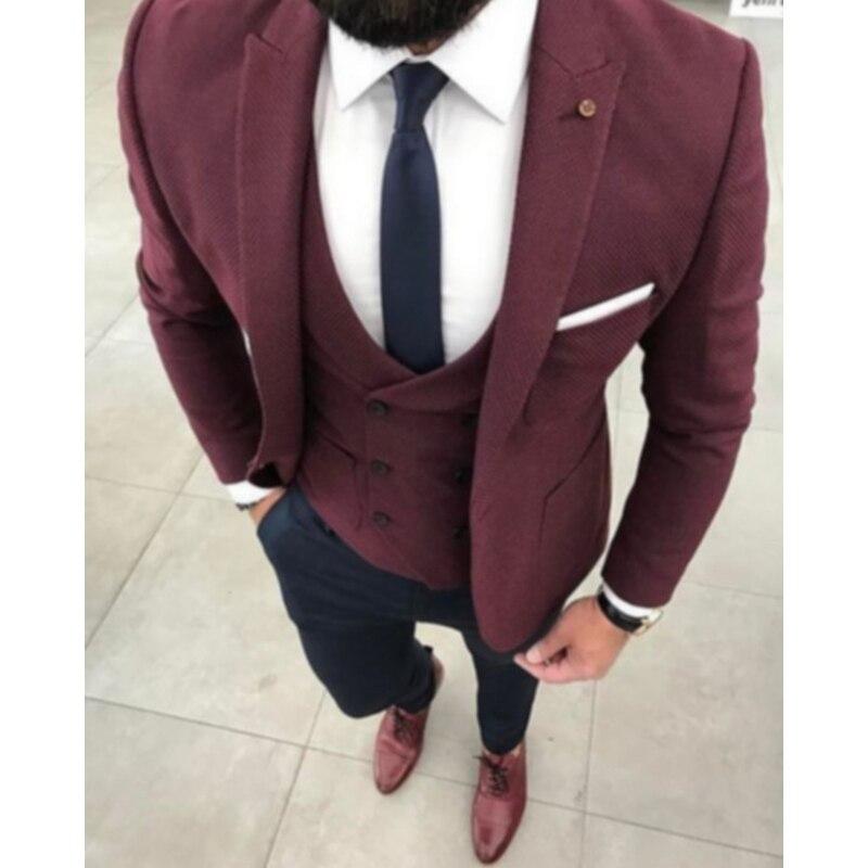 Custom Made Vin Rouge De Mariage Costumes pour Hommes Veste Marié Smoking Slim Fit 3 Pièce De Bal/Partie Costumes Hommes Blazer (veste + Pantalon + Gilet)