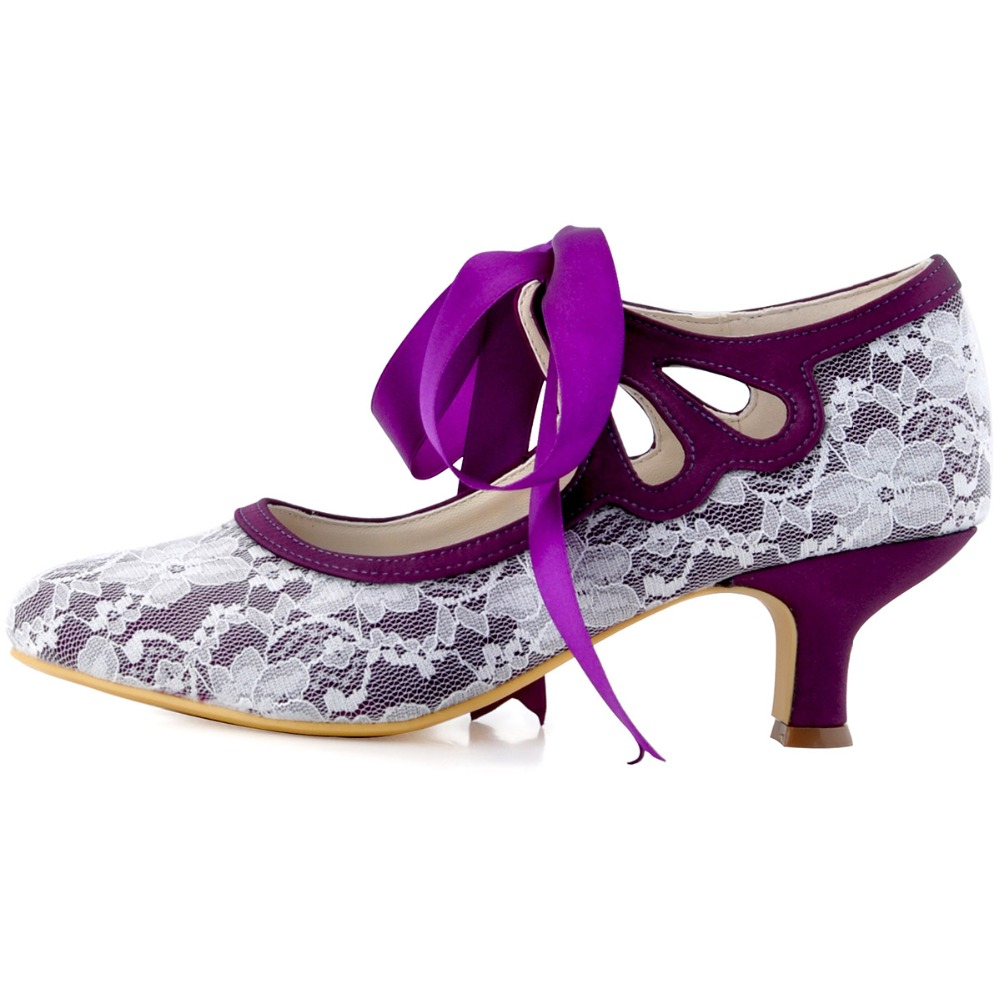 ebe14668ba HC1521 Purple Black Women Bride Bridesmaid Mary Jane Mid Heel Close Toe  Ribbons Tie Satin Lace Wedding Bridal Dress Party Shoes-in Women's Pumps  from Shoes ...