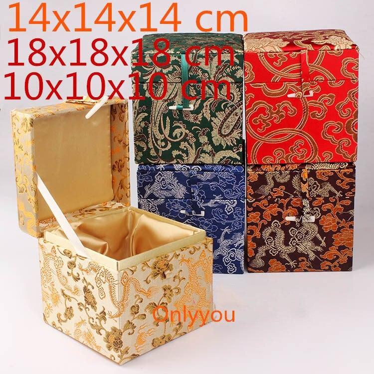 Boîte de rangement en tissu Cube carré en bois chinois de luxe boîte de rangement en soie bijoux en brocart artisanat en pierre boîte d'emballage cadeau Collection