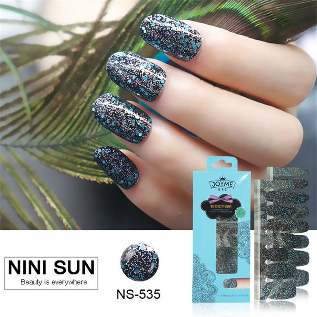 16pcs Stickers On Nails Polish Strips Nail Art Tips Decoration Patch Full Cover 100