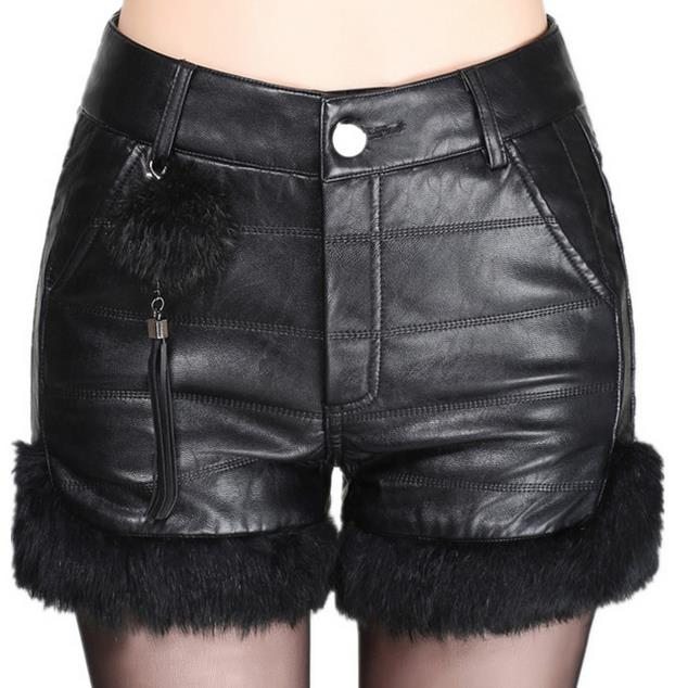 High Waist Plus Size Pu Leather Shorts Women Straight Leather Female Fur