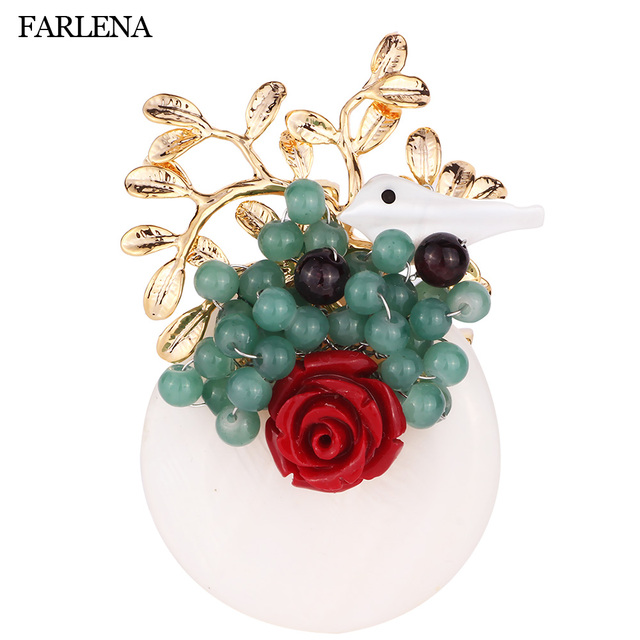 21f9ae699 FARLENA Jewelry Original Design High-end Crystal Beads Bouquet Brooches Pins  for Women Vintage Handmade Brooch