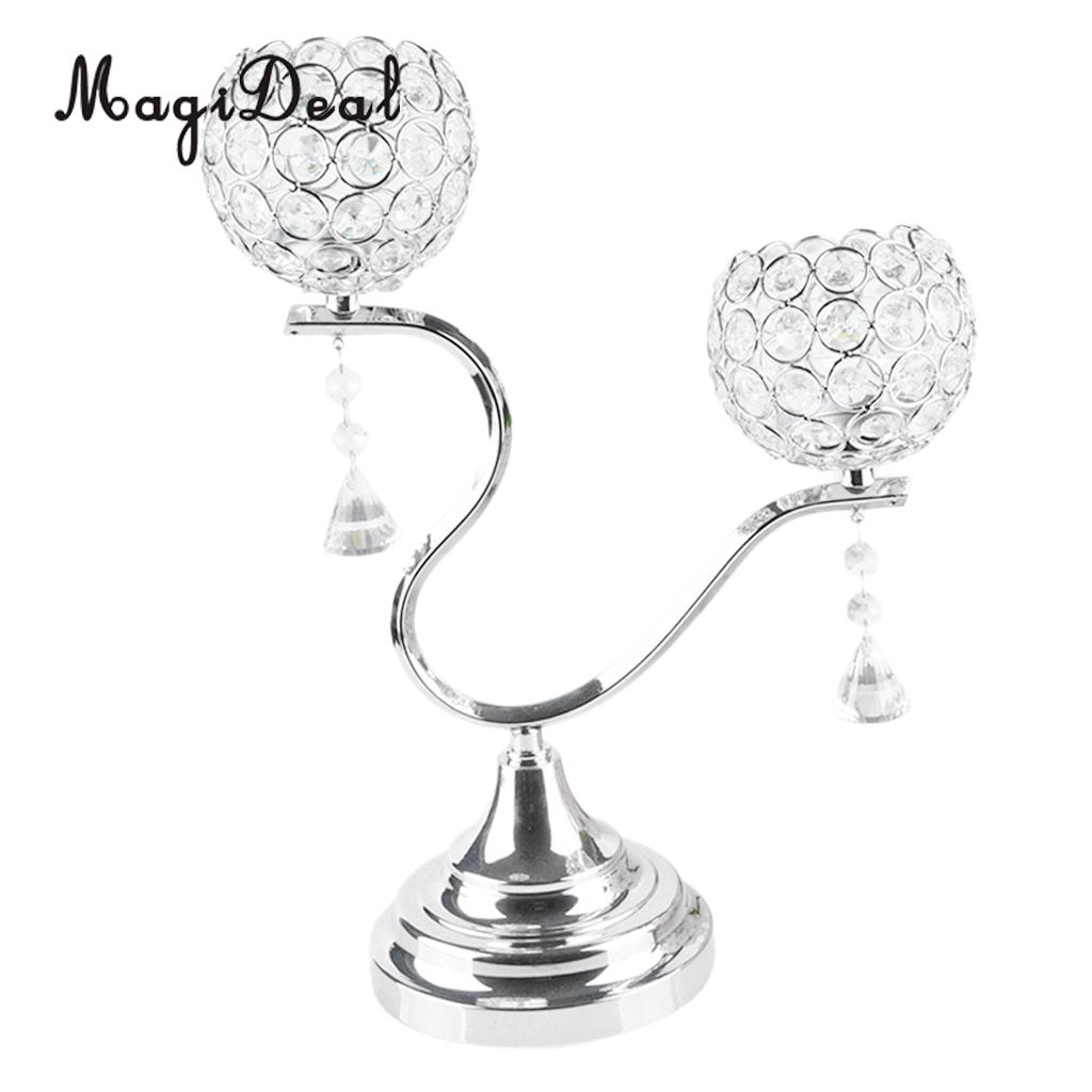 6pcs Sparklers Silver Crystal Candle Holders 2 Arms Wedding Candelabra for Dining Room Coffee Table Decorative Centerpiece