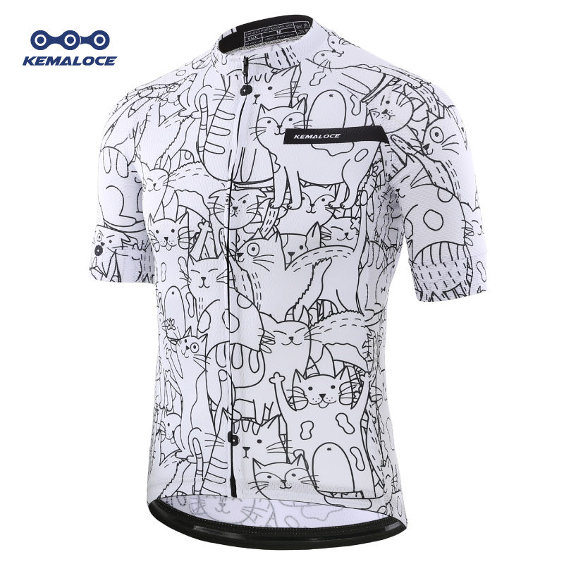KEMALOCE Breathable Unisex White Cartoon Cat Cycling Jersey Spring Anti-Pilling