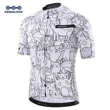 Дышащий унисекс белый мультяшный Кот Велоспорт Джерси Весна анти-пиллинг экологически чистый велосипед одежда шоссейная команда велосипед одежда рубашки
