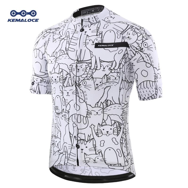 Camiseta de ciclismo transpirable Unisex con dibujo de gato blanco para primavera, ropa de ciclismo respetuosa con el medio ambiente