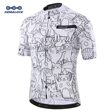 KEMALOCE Breathable Unisex White Cartoon Cat Cycling Jersey Spring Anti-Pilling Eco-Friendly Bike Clothing Top Road Team Bicycle