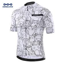KEMALOCE oddychający Unisex biały kot kreskówkowy koszulka kolarska wiosna anti-pilling ekologiczna odzież rowerowa Top Road Team rower tanie tanio CN (pochodzenie) Stretch Spandex POLIESTER Mikrofibra krótkie KEMALOCE-SJ-036 summer AUTUMN Koszulki Zamek na całej długości