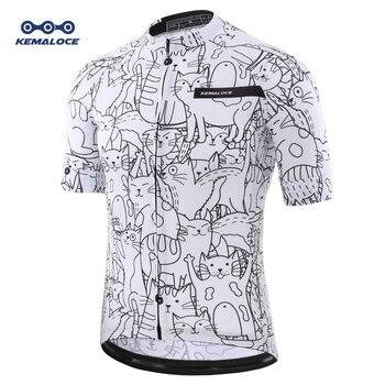 Respirant unisexe blanc dessin animé chat cyclisme Jersey printemps anti-boulochage écologique vélo vêtements route équipe vêtements de vélo chemises