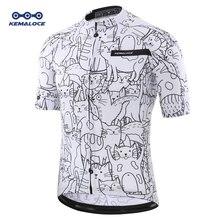 통기성 Unisex 화이트 만화 고양이 사이클링 저지 봄 안티 필링 친환경 자전거 의류 도로 팀 자전거 착용 셔츠