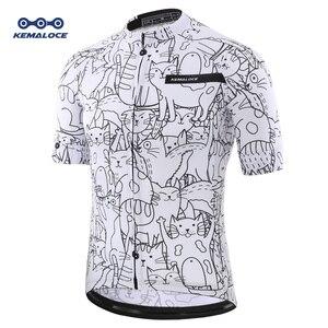 Image 1 - 통기성 Unisex 화이트 만화 고양이 사이클링 저지 봄 안티 필링 친환경 자전거 의류 도로 팀 자전거 착용 셔츠