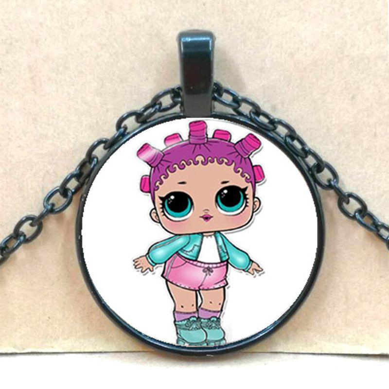 Мультяшное ожерелье с изображением куклы милое детское блестящее платье принцессы куклы стеклянные ожерелья аниме для детей подарок на день рождения - Окраска металла: black 1