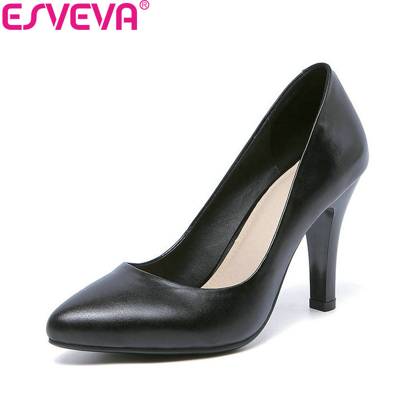 ESVEVA 2018 Women Pumps Thin Heels Shoes Slip on Western Style High Heels Pointed Toe Black Party Pumps Ladies Shoes Size 34-42 newest flock blade heels shoes 2018 pointed toe slip on women platform pumps sexy metal heels wedding party dress shoes