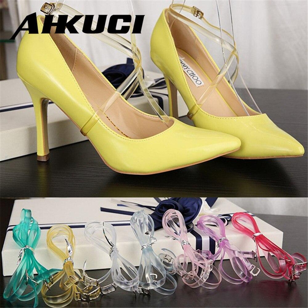 1 Pair Transparent High Heeled Flat Shoe Safety Clips Bands Strap Locking Shoe Silicone Shoelace Belt Wedding Outside Universal