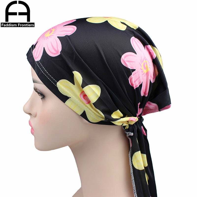 Fashion Women Print Silky Durags Floral Turban Hat Bandanas Chemo Headwear Silk Cool Head Cover Hair Accessories Headband Turban