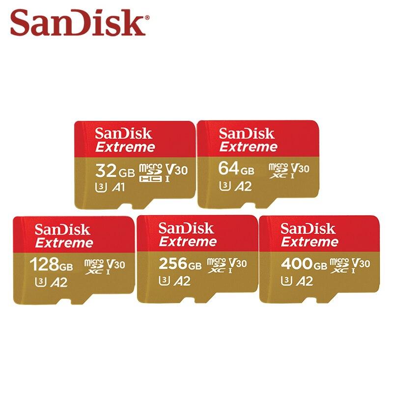 Carte Micro SD originale SanDisk Extreme 128GB 64GB 32GB 256GB 400GB carte mémoire Microsd Trans-flash carte TF pour téléphone/appareil photo