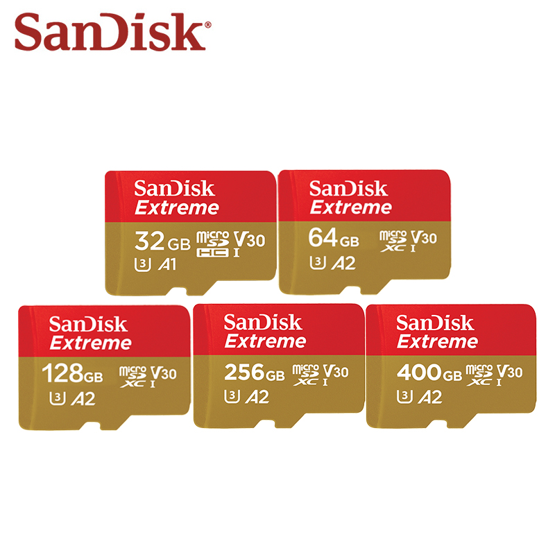Original SanDisk Extreme 128GB Micro SD Card 64GB 32GB 256GB 400GB Microsd Trans-flash Card Memory Card TF Card For Phone/Camera