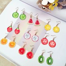 Acrylic Cute Fruit Earrings Strawberry pineapple tomato kiwi orange cucumber dragon apple Pineapple fruit Dainty Gift