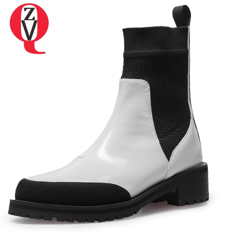 ZVQ women shoes 2018 new fashion mixed colors genuine leather round toe slip-on med hoof heels black and white winter booties 2018 new arrivel genuine leather slip on platform shoes women pumps mixed colors high heels round toe elegant casual shoes l26