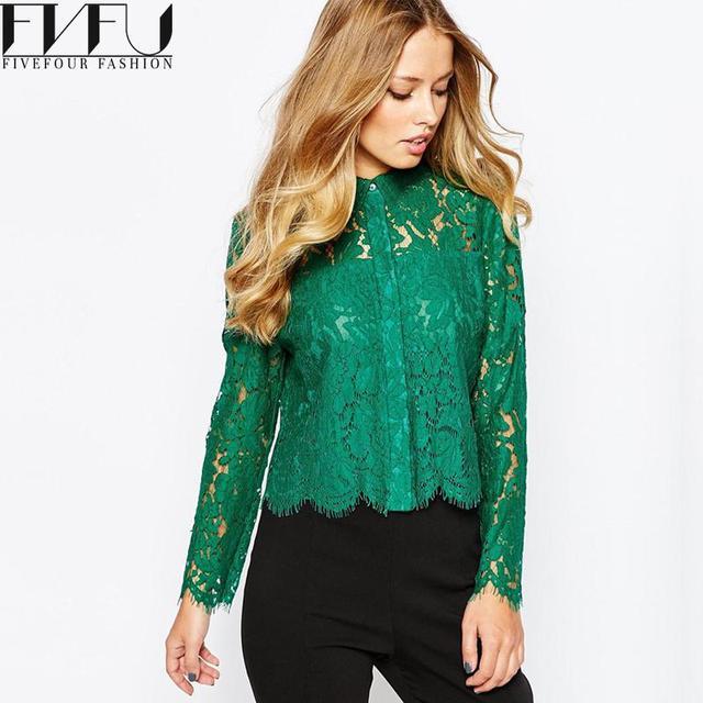Nouveau Mode Femmes Fleur Blouses 2018 Automne Printemps Vert Dentelle chemisier  Sexy À Manches Longues Tops 3a2f080b381c