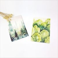 30Pcs Pack Nature Forest Plants Hand Draw Watercolor Painting Postcard DIY Envelope Gift Card Mini Message