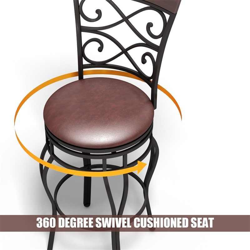طقم من 2 مقعد دوار مبطن عالي الجودة مزود بمسند ظهر مريح معدني عصري لغرفة الطعام مقعد دوار 360 درجة HW54103