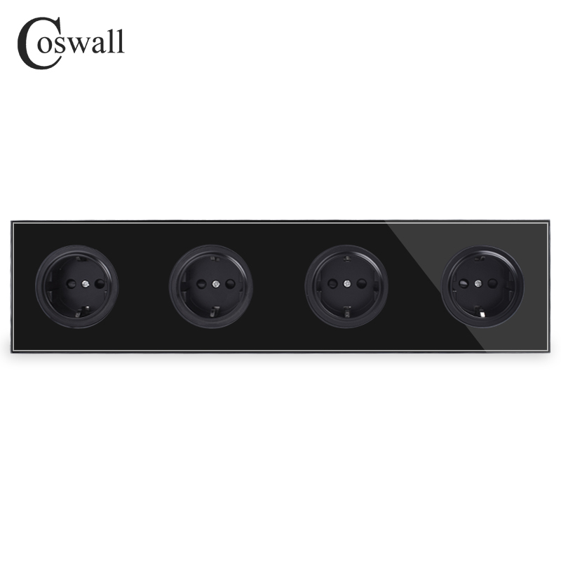 Coswall Crystal Tempered Pure Glass Black Panel 16A 4 Way EU Standard Wall Power Socket Outlet Grounded Child Protective Door