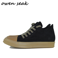 Owen Seak Women Loafers Shoes Luxury Trainers Genuine Leather Casual Lace Up Autumn Women Flats Black Sneaker Big Size Shoes