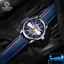Watch Men Waterproof Mechanical Automatic Watch Steampunk Skeleton Self Winding Mens Watches Blue Leather Wristwatch Clock 2019