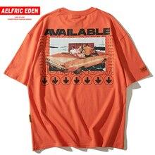 Aelfric Eden Disponibile Lettera Stampe di moda Del Manicotto Del Bicchierino di Estate T Shirt Da Uomo 2019 Hip Hop T Shirt In Cotone Maglietta casual Magliette e camicette Magliette