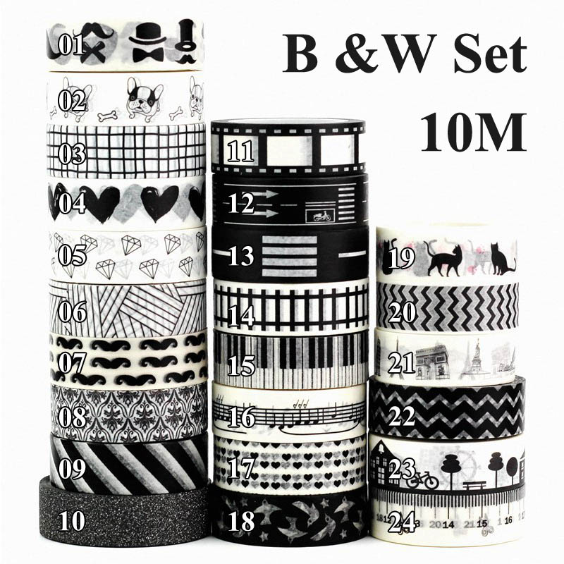 1X Decor Black White Washi Tape Set Rice Paper DIY Scrapbook Adhesive Tape 1.5cm*10m Christmas Masking Tape School Office Supply