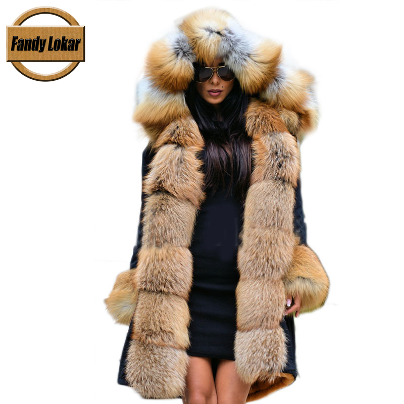 Fandy Lokar Real Fur Parka Women Winter Waterproof Jacket Nature Fox Fur Hooded Coat Rabbit Lining