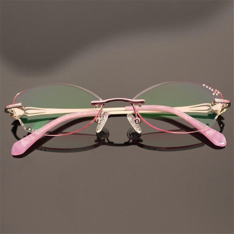 Damen Diamant Progressive 905 Myopie Brillen Multifokale Farbige Gläser Hyperopie Rahmenlose Optische aSrawqP