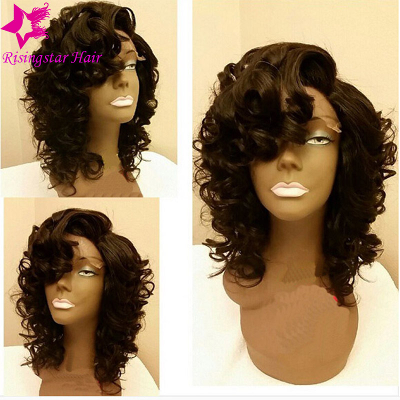 7A Glueless Full Lace Short Human Hair Wigs With Bangs