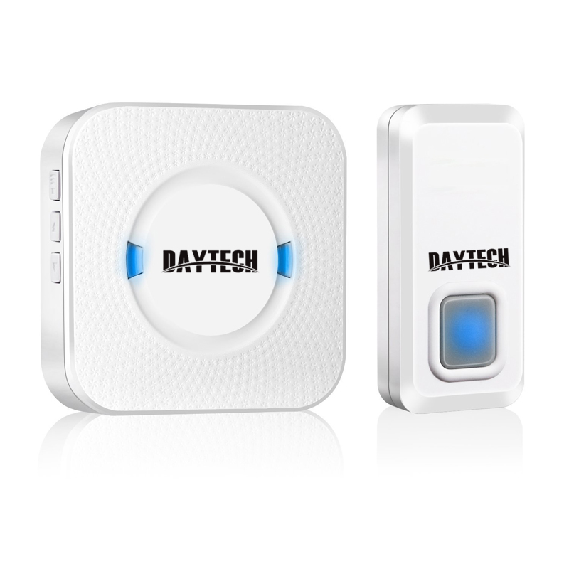DAYTECH Wireless DoorBell Chime Kits Waterproof Door Bell 1 Plug-in Doorbell Receiver 1 Alarm Push Button LED Indicater Ring wireless service call bell system popular in restaurant ce passed 433 92mhz full equipment watch pager 1 watch 7 call button