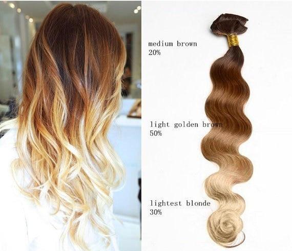 6a European Virgin Ombre Hair Weave Medium Brown Golden Brown
