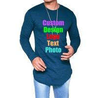 Solid Oversized 3XL Long Sleeve Irregular Men T shirt Custom Logo Photo Text Printed Punk Cool Male Tees Shirts Man Top T shirt