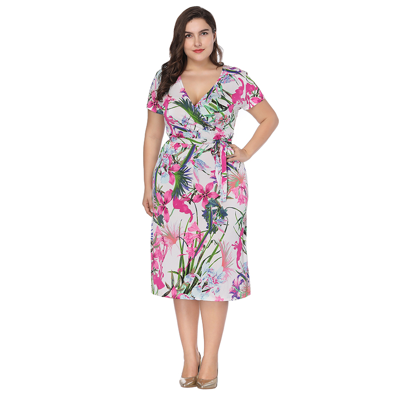 US $25.62 30% OFF|2018 women new Bohemian Floral print plus size dress  Vestidos female fat mm Large size Summer dress Office Lady short dresses-in  ...