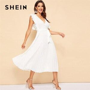 Image 5 - SHEIN Плиссированное Платье С Оборками И Поясом Женское Летнее Элегантное Платье С Высокой Талией И V Образным Вырезом