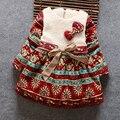 BibiCola Frete grátis crianças outono e inverno Coreano meninas do bebê vestido de roupas de inverno de espessura de pelúcia dot bow vestido crianças vestidos