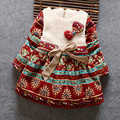 BibiCola cabritos del envío libre de otoño e invierno Coreano niñas vestido de bebé ropa de invierno gruesa felpa dot arco vestido de los niños vestidos