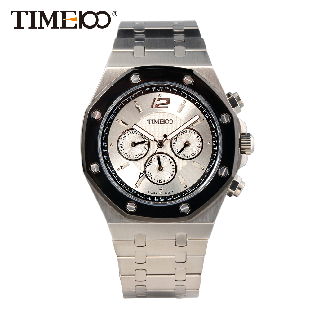 ФОТО TIME100 Men's Quartz Watches Stainless Steel Band Auto Date Chronograph 50M Water Resistant  Butterfly Buckle relogio masculino