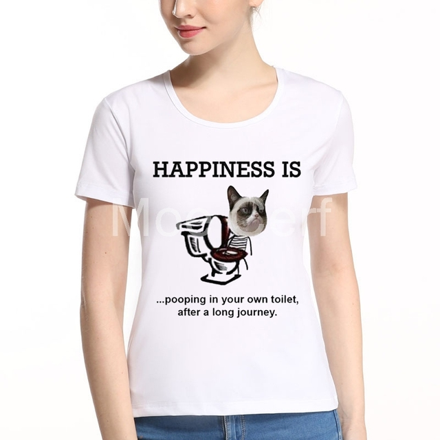 HAPPINESS IS POOPING IN YOUR OWN TOILET Letter Design T Shirt Women Funny 3D  Cat Design Tops Girl Hipster Tee Kawaii Top L8-A-39 5e1d79f69