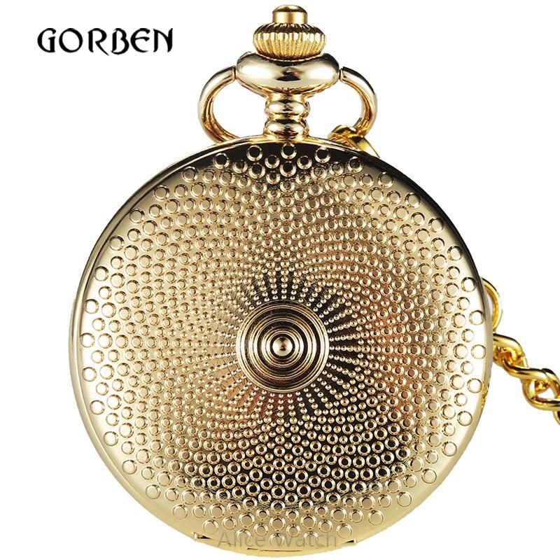 Retro Golden Shield Hunter Roman Numerals Pocket FOB Watch Relogio De Bolso Chain Analog Carving Womens watches golden shield 36
