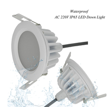1 unids/lote Impermeable IP65 de la CA 220V5W/7 W/9 W/Sin Conductor regulable panel de luz Led blanco Frío blanco cálido LED Downlight LED de Luz