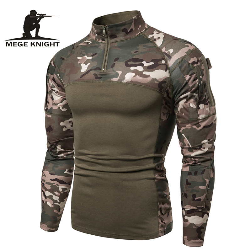 Mege Camouflage Tactical Military Clothing Combat Shirt Assault Multicam ACU Long Sleeve Army Tight T Shirt Army USMC Costume
