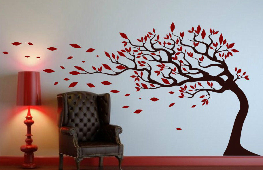 Free Shipping Tree With Leaves Blowing In The Wind Wall ...