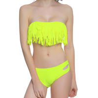 2019 New Women's Bikini Set Beach Low Waist Tassels Female Green Swimsuits Ladies Holiday Beach Boho Chic Swimwear
